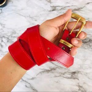 🔴 Red Gold Buckle Belt